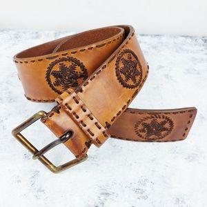 LP Linea Pelle | Cognac Leather Embroidered Belt